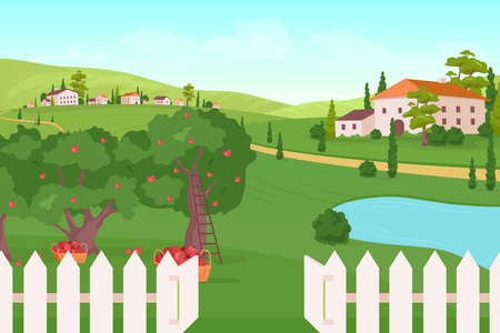 Farmland flat color vector illustration. Apple tree harvest. Summer crop. Residence on hills. Countryside farmhouse. Rural dwelling. Village 2D cartoon landscape with nature on background 矢量图像