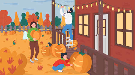 Family decorate for Halloween flat color vector illustration. Mother and father spend time with kid. Home backyard. Pumpkin carving. Parents with son 2D cartoon characters with landscape on background