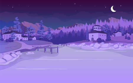 Nighttime lake in village flat color vector illustration. Evening rural Tuscany scenery. Forest near farmhouses. Night in countryside 2D cartoon landscape with nature on background