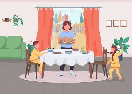 Family celebrate Thanksgiving flat color vector illustration. Mom serve traditional dinner. Meal on table. Mother with son and daughter 2D cartoon characters with interior on background Ilustración de vector