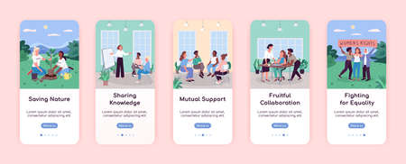 Women in society onboarding mobile app screen flat vector template. Support, Equality, Sharing. Walkthrough website steps with characters. UX, UI, GUI smartphone cartoon interface, case prints set