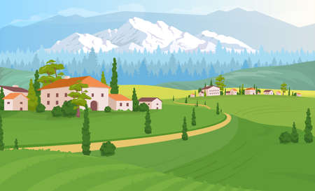 Rural dwelling scenery flat color vector illustration. Tuscany land near forest. Buildings near woods. Rocky mountains line beside houses. 2D cartoon landscape with nature on background