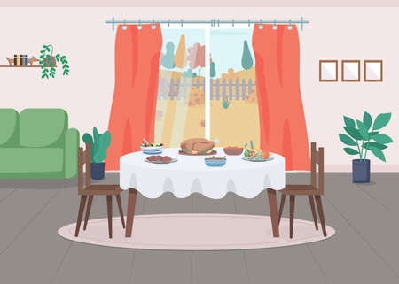 Thanksgiving serving flat color vector illustration. Table with traditional dinner. Autumn holiday celebration at home. Residential house 2D cartoon interior with window on background