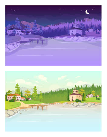 Day and night village flat color vector illustration. Lake near residential buildings. Daytime countryside. Nighttime country. Rural summer 2D cartoon landscape with nature on background 免版税图像 - 155724416