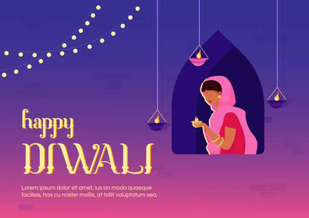 Happy Diwali banner flat vector template. Traditional indian holiday. Celebratory ceremony. Brochure, booklet one page concept design with cartoon characters. Religious event flyer, leaflet