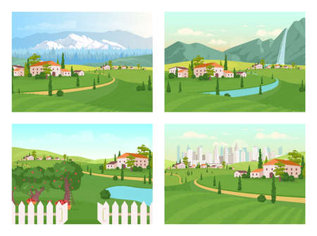 Tuscany scenery flat color vector illustration set. Farmland house. Suburban area near city. Path to mountains near village. Countryside 2D cartoon landscape with nature on background collection 矢量图像