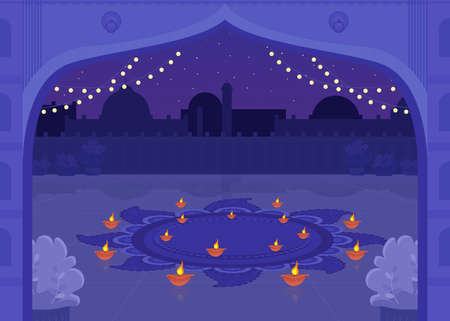 Diya candles for celebration flat color vector illustration. Diwali celebration lights. Prayer for religious holiday in public plaza. Nighttime 2D cartoon cityscape with skyline on background