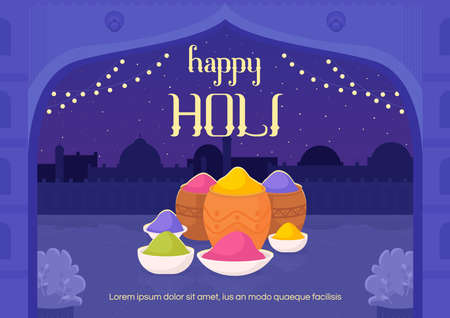 Happy Holi banner flat vector template. Indian festival of spring and colors. Brochure, booklet one page concept design with cartoon illustrations. Hindu religious event flyer, leaflet