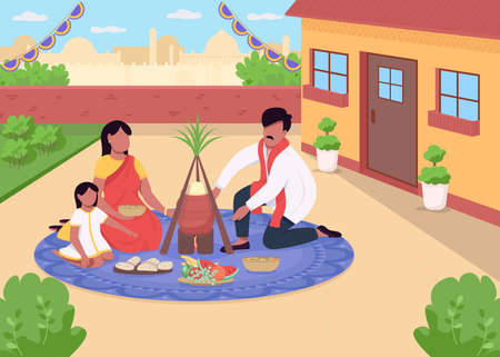 Hindu holiday dinner flat color vector illustration. Traditional festivity in India. Celebratory meal with relatives. Indian family 2D cartoon characters with cityscape on background
