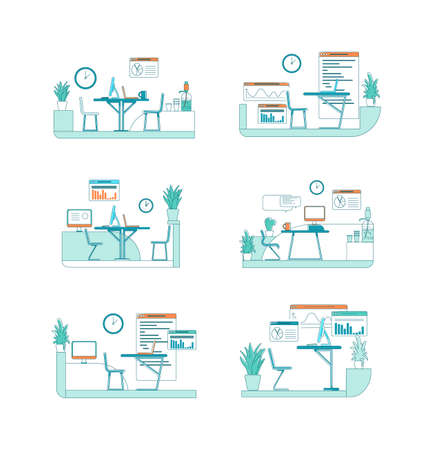 Office interior flat color vector scene set. Desk with computer. Business project work. Corporate space isolated cartoon illustration for web graphic design and animation collection