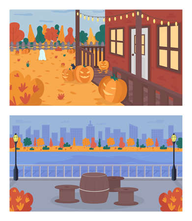 Fall weekend in city flat color vector illustration set. Halloween decoration in house backyard. Table and chairs on sidewalk near water. Urban 2D cartoon landscape with trees on background collection