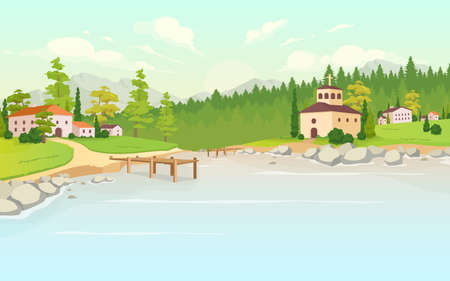 Daytime lake in village flat color vector illustration. Houses in rural land. Tuscany scenery. Forest near farmhouses. Suburb area. Countryside 2D cartoon landscape with nature on background 免版税图像 - 156339081