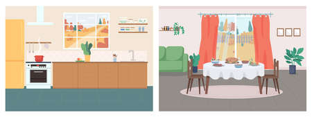 Cozy home flat color vector illustration set. Kitchen in household. Thanksgiving serving on table in living room. House 2D cartoon interior with autumn in window on background collection Ilustración de vector
