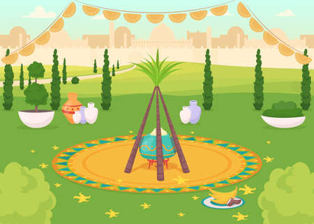 Festive meal in public park flat color vector illustration. Traditional Hindu holiday dinner. Religious event. Punjabi celebration. Indian 2D cartoon landscape with cityscape on background
