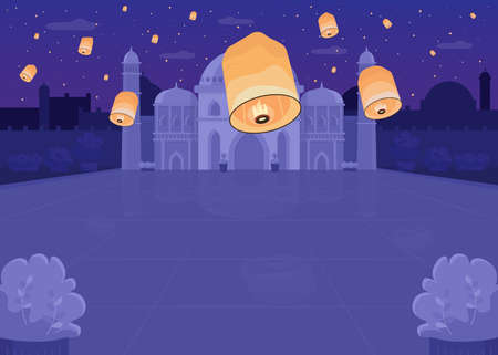 Lantern festival flat color vector illustration. Religious Hindu fest in public area. Spiritual holiday celebration with flying lights. Nighttime 2D cartoon cityscape with Taj Mahal on background