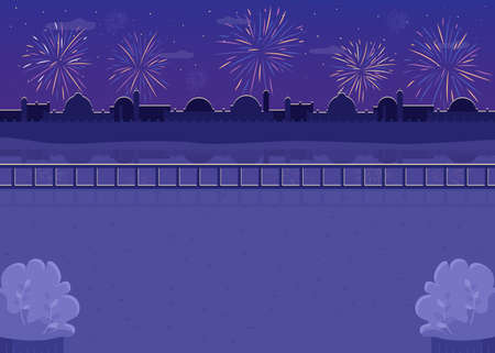Nighttime fireworks flat color vector illustration. Firecrackers over river bank. Hindu festival evening celebration. Indian modern 2D cartoon cityscape with night sky on background