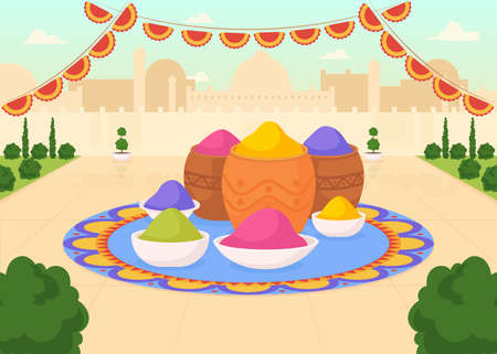 Paints for Holi fest flat color vector illustration. Public urban square with buckets of colorful powder. Religious ritual. Tins with dye. Indian 2D cartoon cityscape with scenery on background