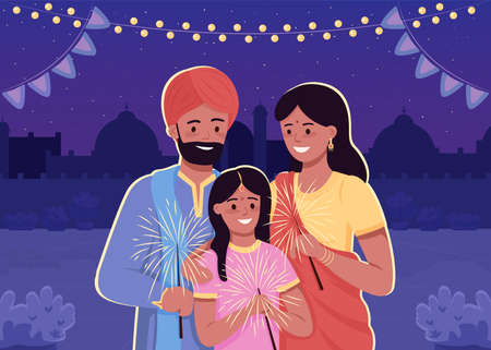 Happy indian family flat color vector illustration. Traditional Hindu holiday celebration. Parents with child in national clothes. Relatives 2D cartoon characters with cityscape on background