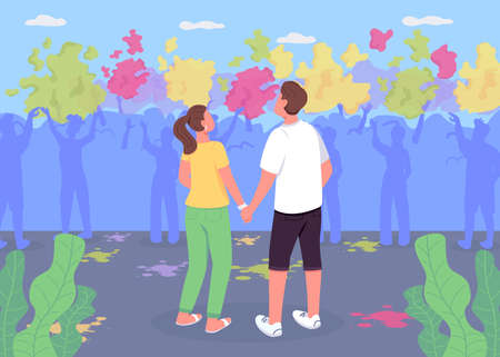 Couple at Holi fest flat color vector illustration. Boy and girl watch performance. Traditional Indian festival. Boyfriend and girlfriend 2D cartoon characters with crowd of people on background