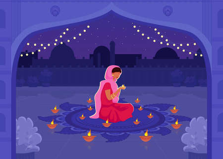 Woman in sari pray flat color vector illustration. Diwali festival with diya candles. Traditional Hindu holiday prayer. Indian female 2D cartoon characters with cityscape on background