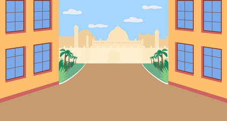 Indian plaza flat color vector illustration. Public area in India. Oriental city square. Panorama on empty neighborhood. Modern eastern 2D cartoon cityscape with skyline on background