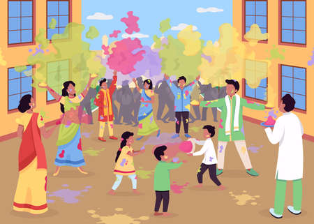 Holi celebration flat color vector illustration. Traditional religious event in India. People play with powder paint. Hindu festival. Indian 2D cartoon characters with landscape on background 일러스트