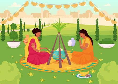 Lohri celebration flat color vector illustration. Traditional holy feast in public park. Women in sari. Hindu holiday. Indian female 2D cartoon characters with cityscape on background
