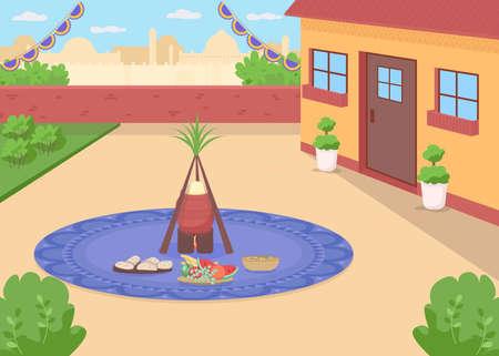 Lohri meal flat color vector illustration. Traditional Hindu holiday celebration. Punjabi food in home backyard. Vaisakhi feast. Indian 2D cartoon landscape with cityscape on background 일러스트