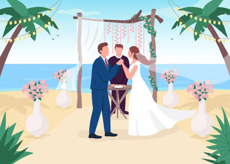 Tropical wedding ceremony flat color vector illustration. Romantic venue. Ceremonial service on sea beach. Bride and groom with priest 2D cartoon characters with landscape on background 일러스트