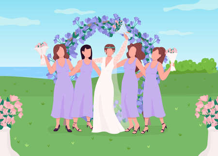 Bride with bridesmaids flat color vector illustration. Wedding celebration. Floral arch photozone for guests. Flower gate. Women in dresses 2D cartoon characters with landscape on background