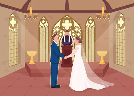 Religious wedding ceremony flat color vector illustration. Priest does matrimony service. Couple marry in church. Bride and groom 2D cartoon characters with christian chapel on background 일러스트