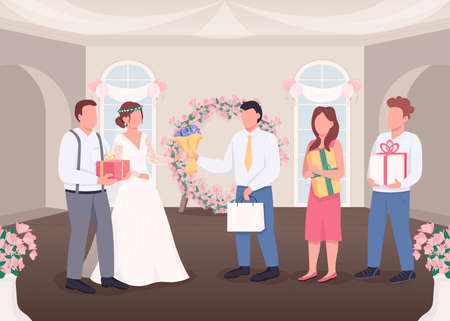 Gifts for bride and groom flat color vector illustration. Newlyweds receive presents. Wedding celebration. Married couple with guests 2D cartoon characters with decorated interior on background