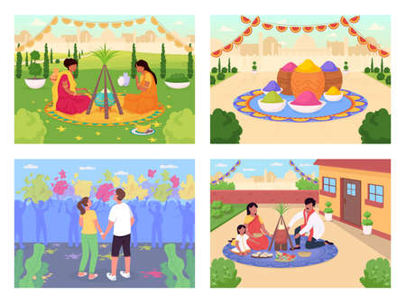 Indian holidays flat color vector illustration set. Traditional Hindu festival celebration. Lohri and Holi fest. Family 2D cartoon characters with modern daytime cityscape on background collection