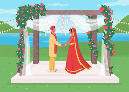 Indian wedding flat color vector illustration. Traditional oriental ceremony. Engagement under flower arch. Celebratory venue. Bride and groom 2D cartoon characters with landscape on background 일러스트