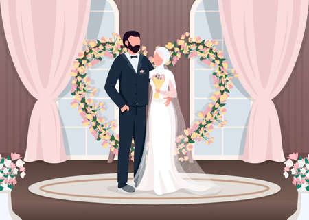 Muslim newlyweds flat color vector illustration. Bride and groom near luxury photozone. Floral arch wedding decoration. Islam couple 2D cartoon characters with interior on background 일러스트
