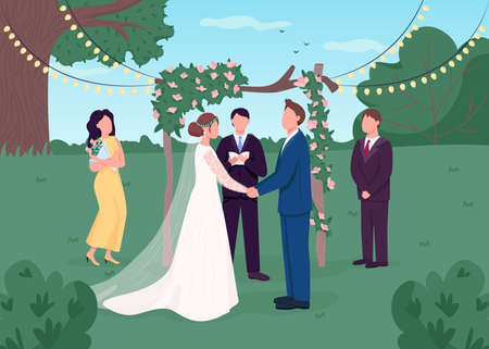 Rural wedding ceremony flat color vector illustration. Marriage celebration. Floral arch for service. Bridesmaid and best man. Bride and groom 2D cartoon characters with backyard on background