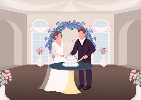 Cutting cake tradition flat color vector illustration. Wedding tradition. Newlyweds eat celebratory food. Bride and groom 2D cartoon characters with ceremonial hall interior on background