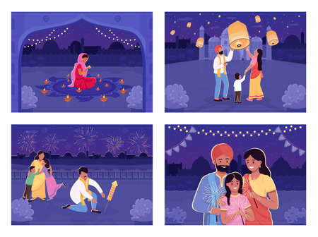 People celebrate Hindu holiday flat color vector illustration set. Traditional festival with lanterns. Indian relatives 2D cartoon characters with nighttime cityscape on background collection