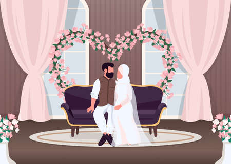 Islam newlyweds flat color vector illustration. Bride and groom on sofa. Wife and husband sit on couch. Floral arch wedding decoration. Muslim couple 2D cartoon characters with interior on background