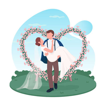 Newlywed couple 2D vector web banner, poster. Groom hold bride. Marriage celebration. Husband and wife flat characters on cartoon background. Wedding ceremony printable patch, colorful web element