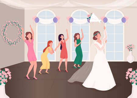 Bouquet throwing tradition flat color vector illustration. Wedding reception. Ceremonial event. Celebration party. Bridesmaids and bride 2D cartoon characters with interior on background