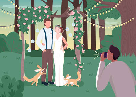 Newlywed couple in rustic photozone flat color vector illustration. Rural wedding ceremony. Photographer service for event. Bride and groom 2D cartoon characters with landscape on background
