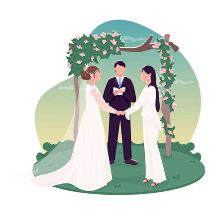 Lesbian couple getting married 2D vector web banner, poster. Homosexual couple near floral arch. Brides hold hands flat characters on cartoon background. Wedding printable patch, colorful web element