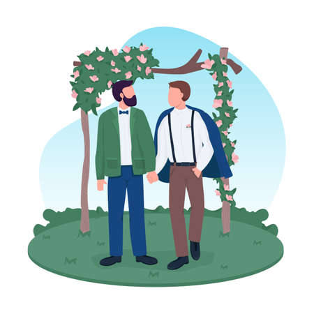 Homosexual married couple 2D vector web banner, poster. Gay couple holding hands. Groom and groom flat characters on cartoon background. Wedding printable patch, colorful web element