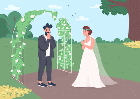 Engagement ceremony flat color vector illustration. Wedding reception. Flower arch for matrimony ceremony. Surprised groom and happy bride 2D cartoon characters with landscape on background 일러스트