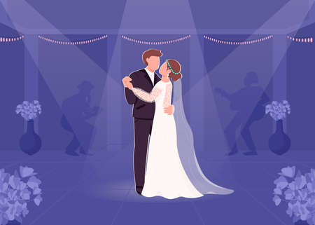 First bride and groom dance flat color vector illustration. Wedding party. Night entertainment. Spotlight on couple on dancefloor. Groom and bride 2D cartoon characters with musical band on background