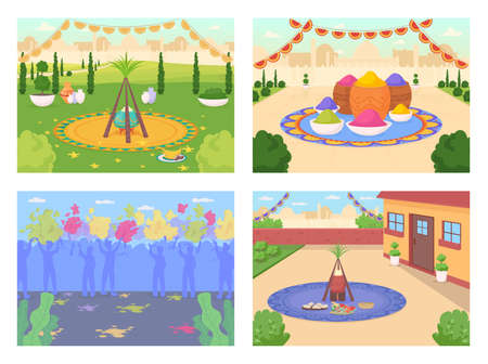 Indian festival celebration flat color vector illustration set. Lohri celebratory feast. Crowd of people on Holi party. India 2D cartoon cityscape with skyline on background collection