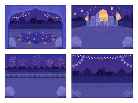 Night Hindu holiday celebration flat color vector illustration set. Diwali festival. Diya candles. Lighted lanterns in sky. Festive nighttime 2D cartoon cityscape with skyline on background collection 일러스트