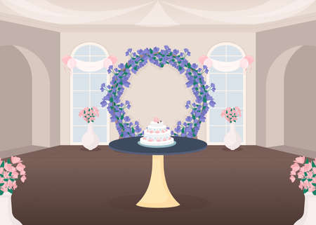 Banquet hall flat color vector illustration. Ceremonial arrangement. Cut wedding cake tradition. Bridal event. Wedding hall 2D cartoon interior with floral arch decoration on background Ilustração