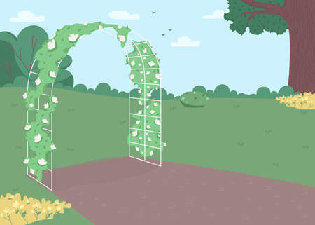 Garden floral arch flat color vector illustration. Wedding flower archway. Celebratory gate. Backyard arrangement for ceremony. Party decorated 2D cartoon landscape with park on background 일러스트